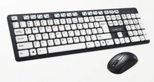 Circle Rover A7 Wireless Combo Keyboard & Mouse Set Deskset, Uv Prined Keycaps / 12 Multimedia Hotkeys, Fn+(F1 To F12) - White