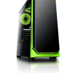 Circle Gaming Elegantor Gaming Green ATX Tower Case with Transparent Side Panel and Water Cooling Support