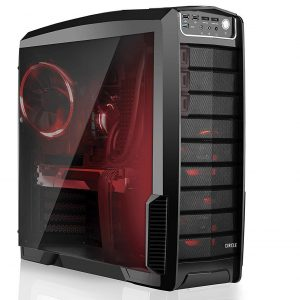 Circle Gaming 830 ATX Tower Case with Transparent Side Panel and HDD Easy Swap Dock Cases (Black)
