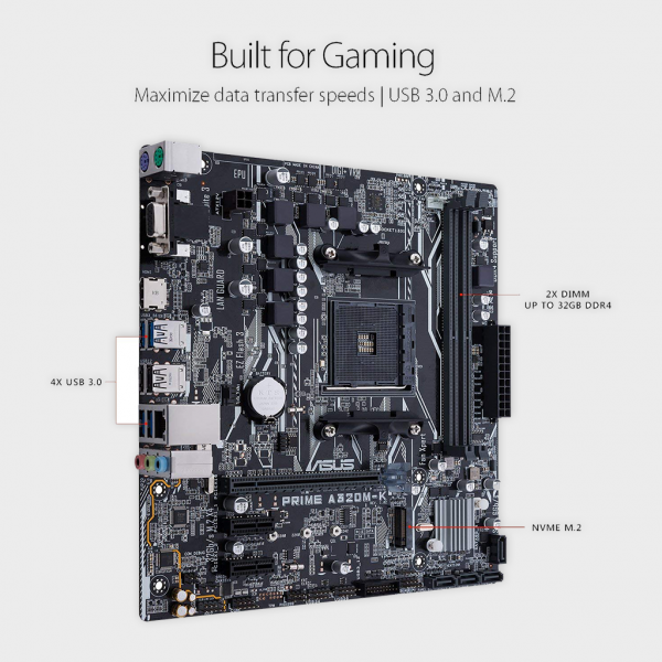 Asus- PRIME A320M-K AM4 Motherboard