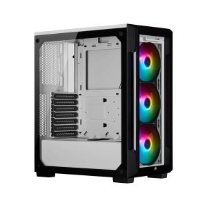 GamesnComps - Corsair ICUE 220T RGB Mid Tower Cabinet (White) 2