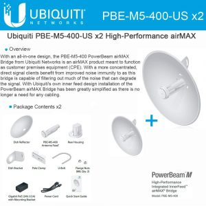 gamesncomps Ubiquiti PBE-M5-400 PowerBeam M5 25dBi 5GHz AirMAX CPE 400mm 150+ Mbps