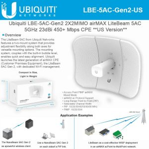 gamesncomps Ubiquiti UBNT Systems LiteBeam ac Gen LBE-5AC-Gen2-US 2X2 MIMO Airmax Wireless Antenna 5GHz 23dBi 450+ Mbps CPE